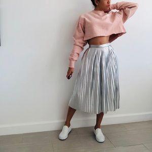 ASOS Silver Metallic Pleated Midi Skirt - XS